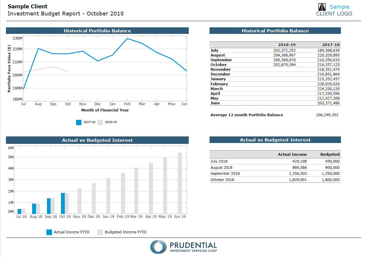 Page 11 - Investment Budget: An example of customised reporting that a client has requested