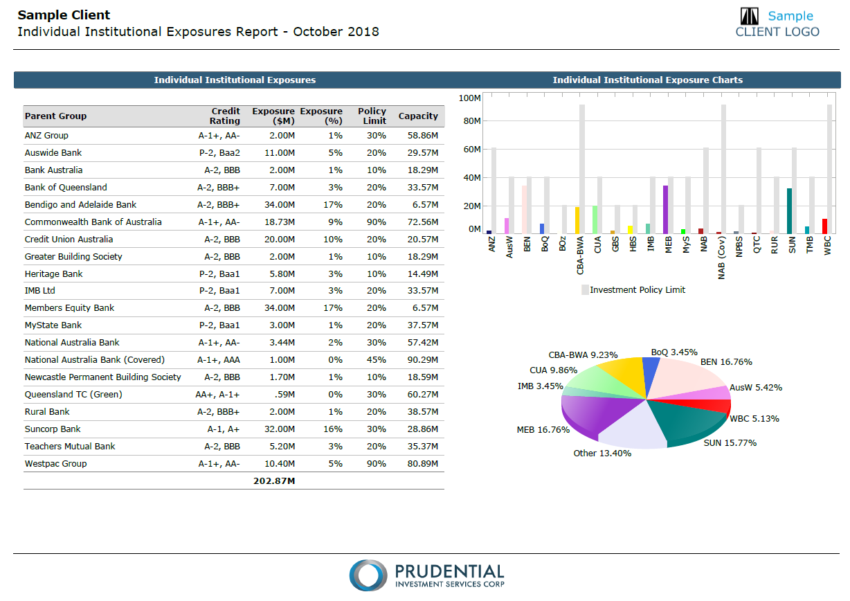Page 13 - Individual Institutional Exposures: Displays the portfolio's exposure against its individual counterparty limits